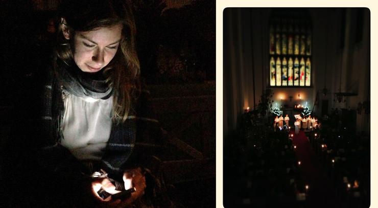 lucia-optog og lys i kirke